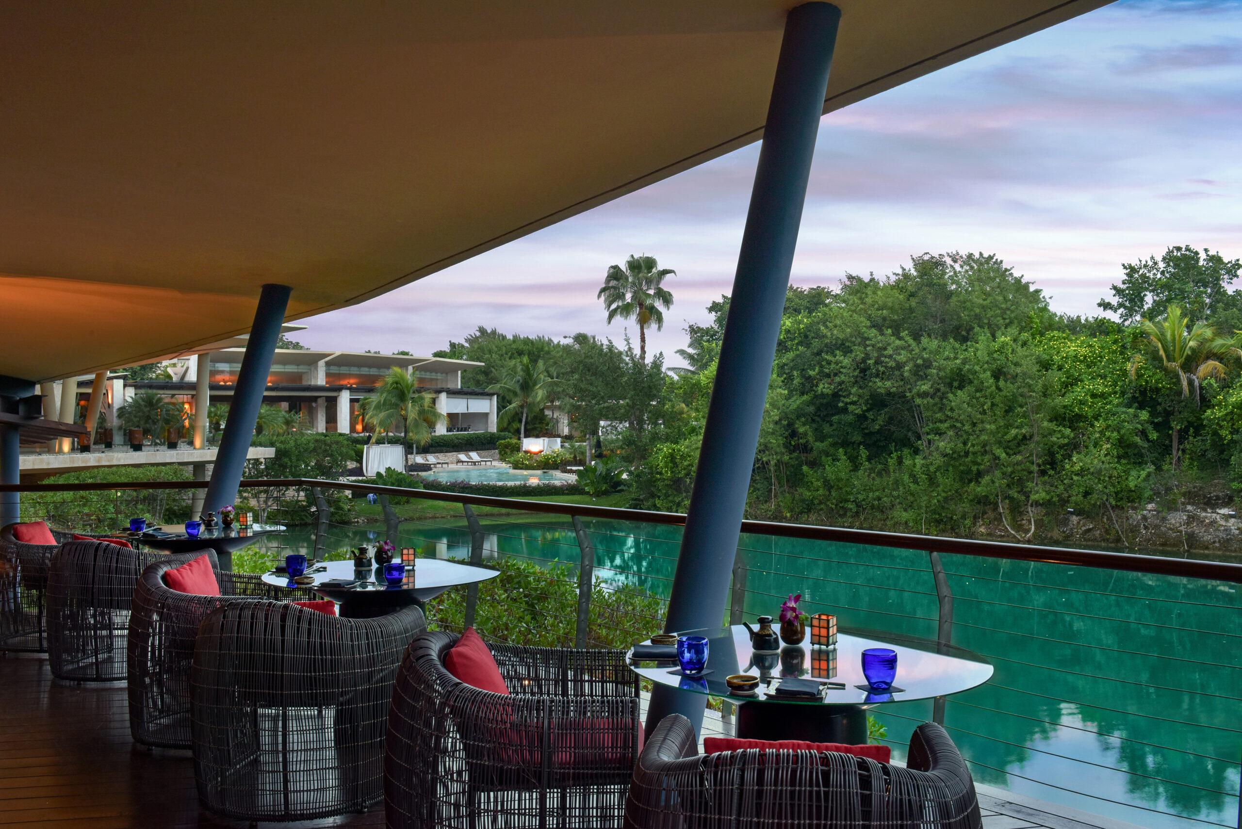 modern rattan chairs on lagoon deck