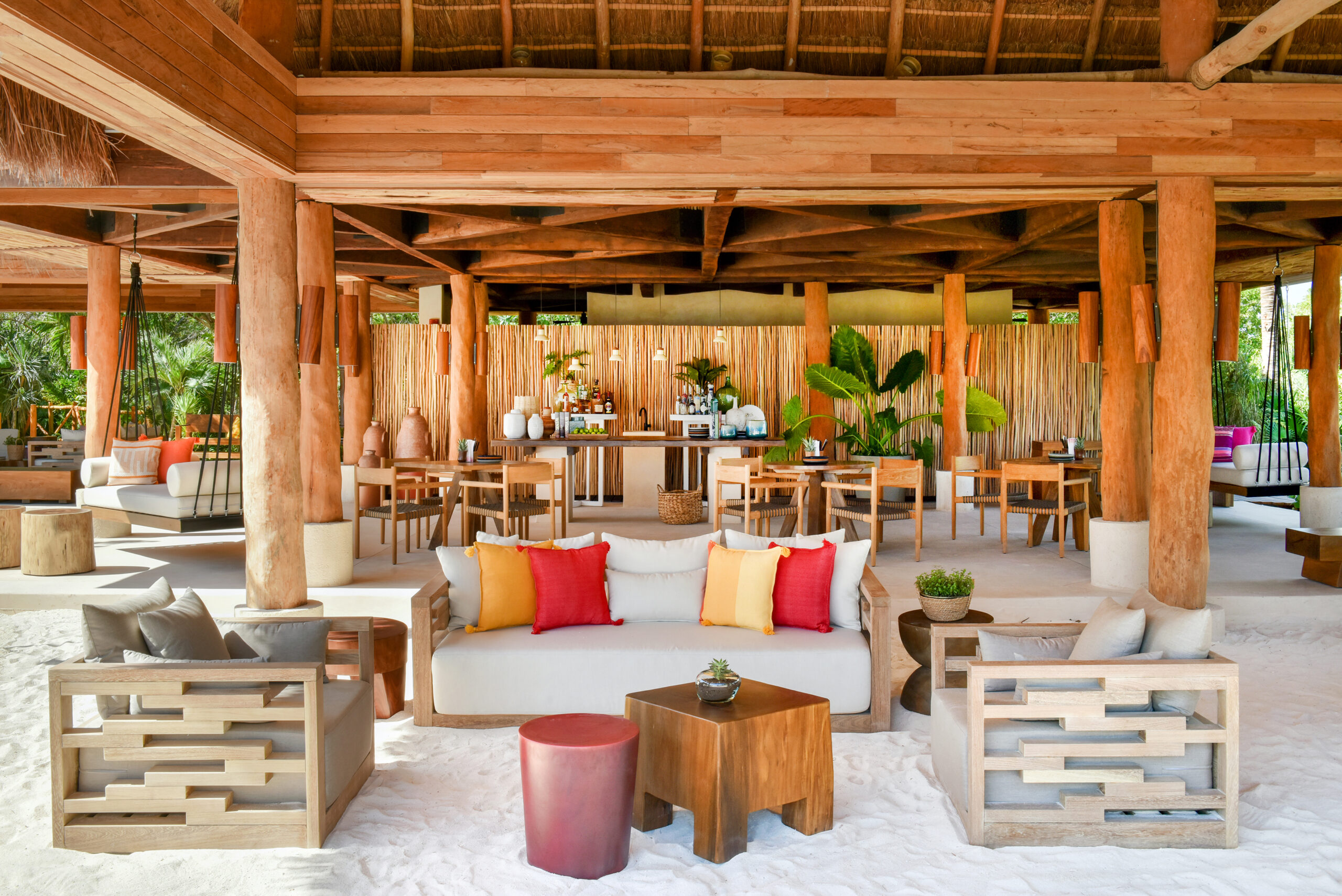 tropical lounge area on the sand