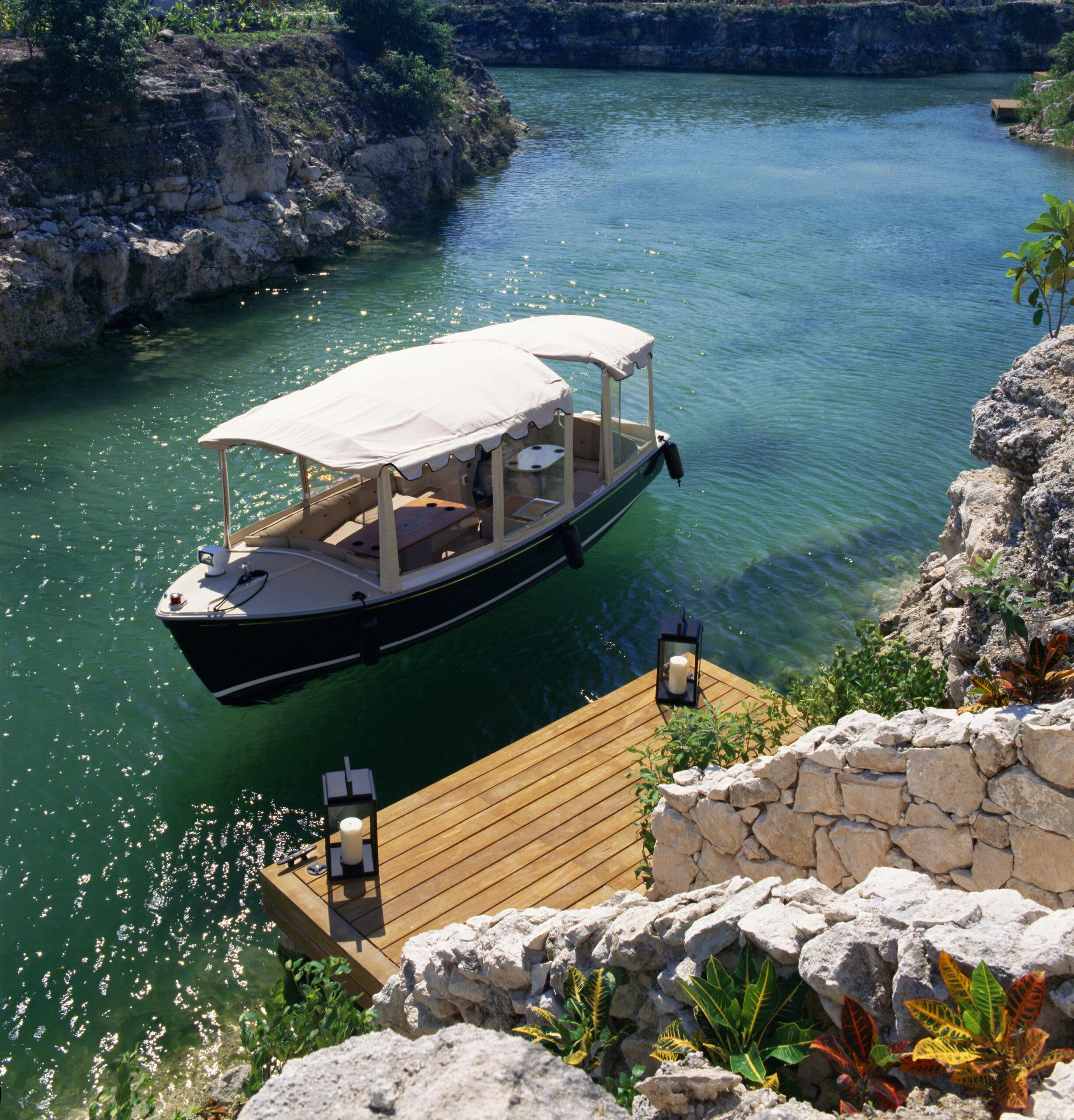 boat at dock of lagoon