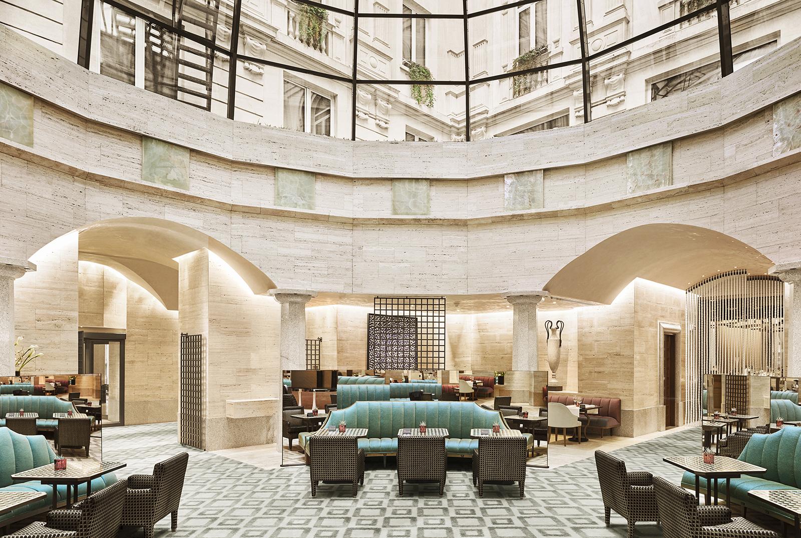 Elegant lounge below majestic cupola