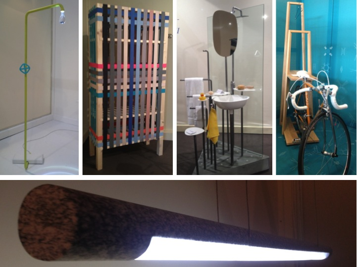 Top left to to right: 'Shower lamp' by Ima-Jin, Japan, Cupboard by designArtist Soh, Korea, bathroom unit by Allegory, Switzerland, coat rack & bike stand by Sabine Wulz, Austria and award winning granite lamp by FROM INDUSTRIAL DESIGN, Italy