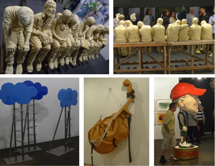 Top: Jitish Kallat, Syzygy, 2014, Galerie Daniel Templon Bottom left to right: Olaf Breuning, Cloud, 2014, Metro Pictures/ Claes Oldenburg, Soft Viola, 2002/ Richard Jackson, Bobble Head, 2013