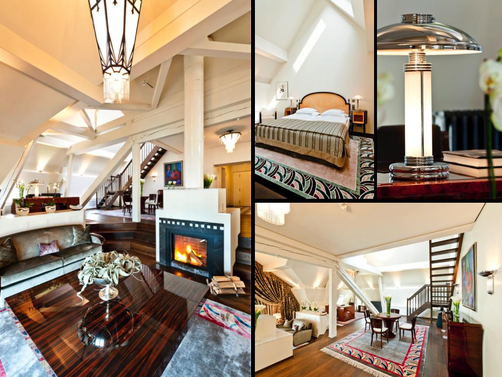 Art Deco Suite at the Grand Hotel Les Trois Rois Basel, featuring authentic Art Deco antiques from Paris