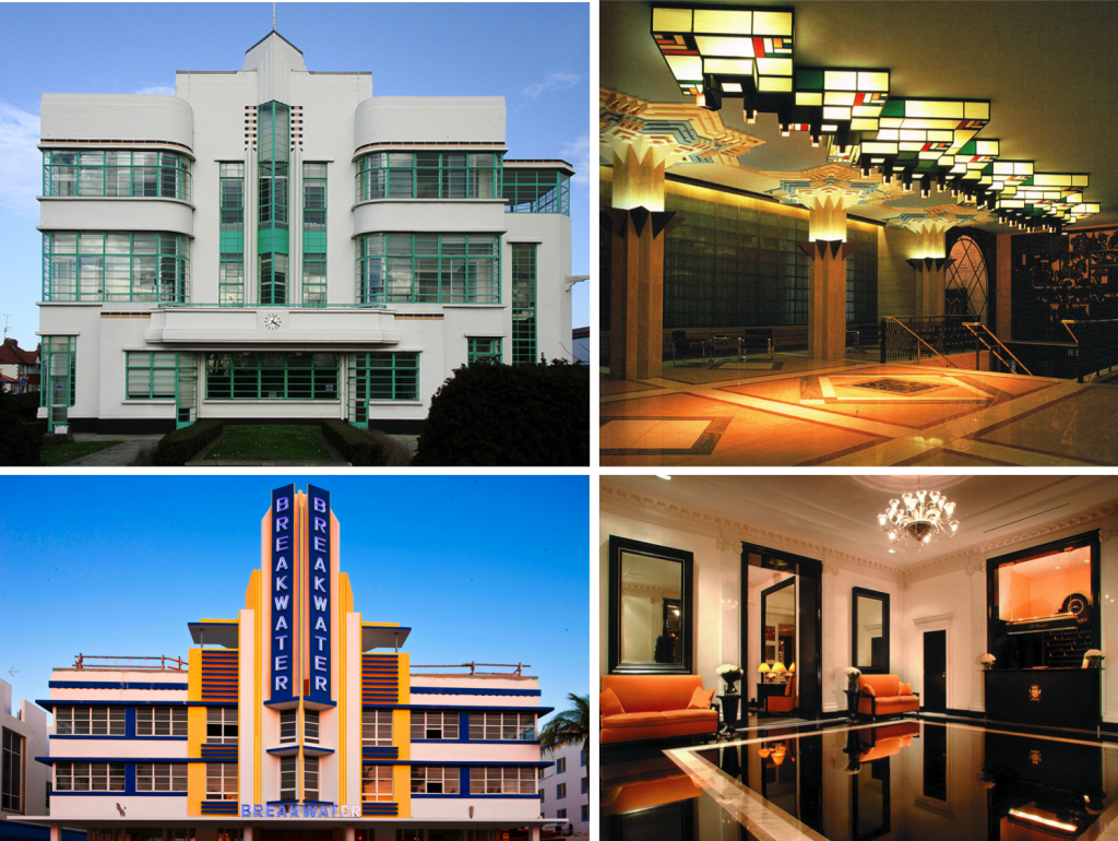 Hoover Building, London; Unilever Lobby Lounge, London; Breakwater Hotel, Miami Beach; The Carlyle NY lobby lounge Images sources: Benjamin A. Peterson, The Carlyle, A Rosewood Hotel