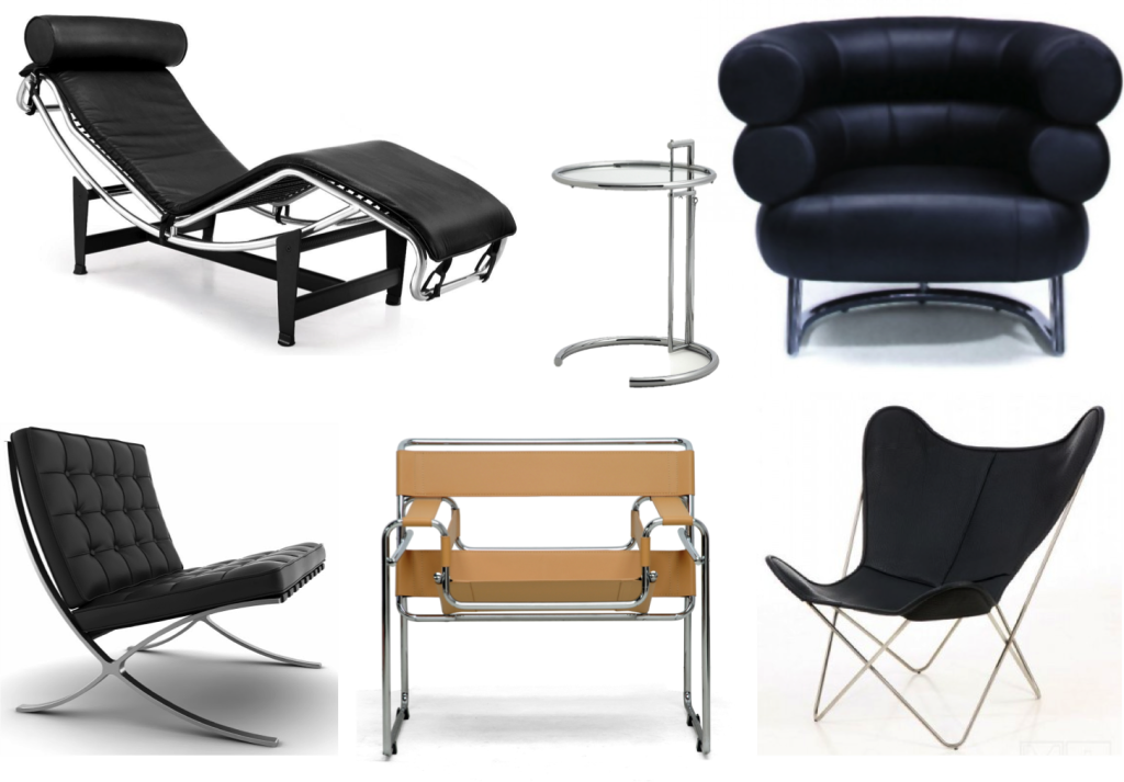 Le Corbusier lounge chair, Eileen Gray E1027 side table and Bedenbum armchair, Mies van der Rohe Barcelona chair, Marcel Breuer Wassily chair and H butterfly chair All items are still in production today