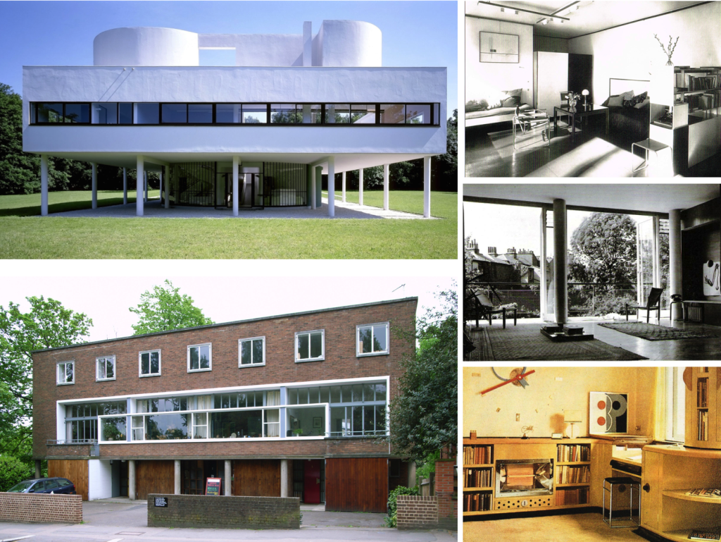 Top left: Villa Savoie, Poissy, France Bottom left: 2 Willow House, London/ Right top to bottom: Bauhaus interior, 2 Willow house interior, built-in