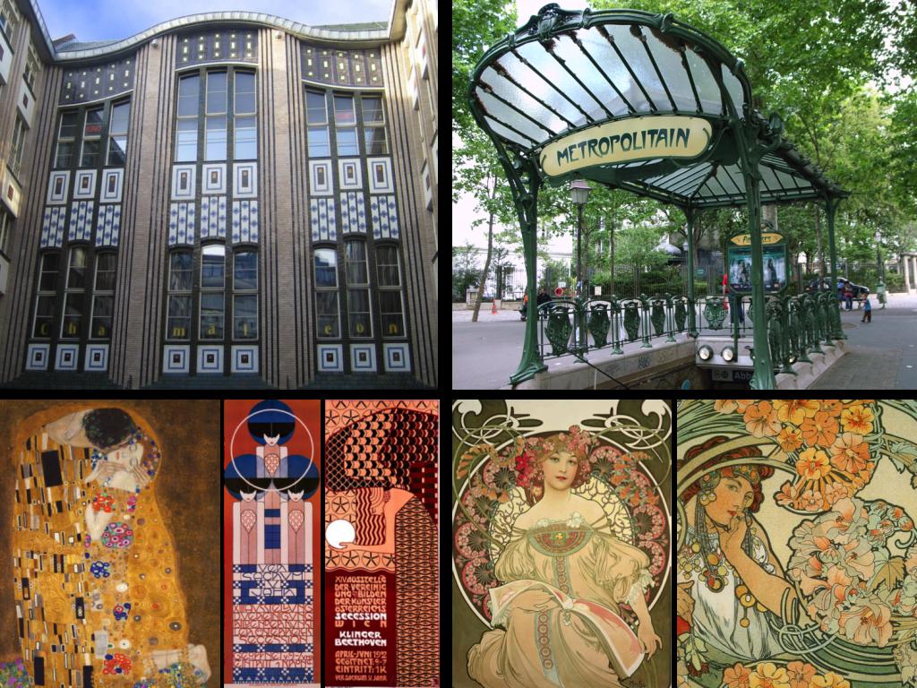 Rectilinear versus curvilinear Art Nouveau Top left to bottom right: Häckescher Höfe, Berlin, Paris Metro Station, Secession posters and Art Nouveau posters*