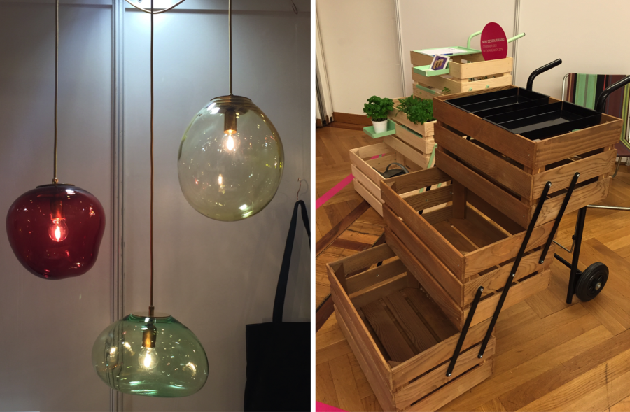 Left: glass pendant lights by Eloa/ Right: crate trolley by everythings