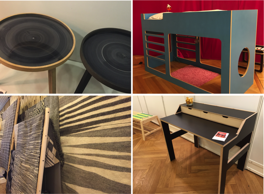 Clockwise: tables by Steven Banken, kid's bed by Lalilu, carpets by AIT Selma and desk by Patrizia Keller