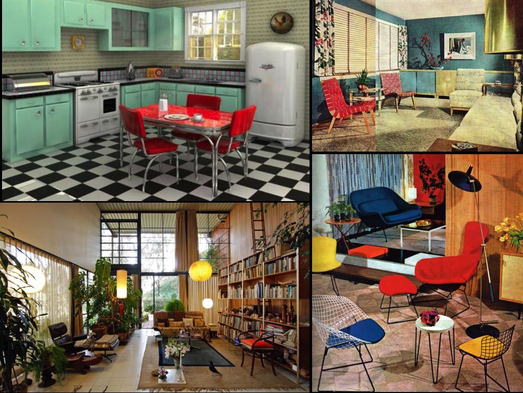 Vintage interior design 50's and 60's