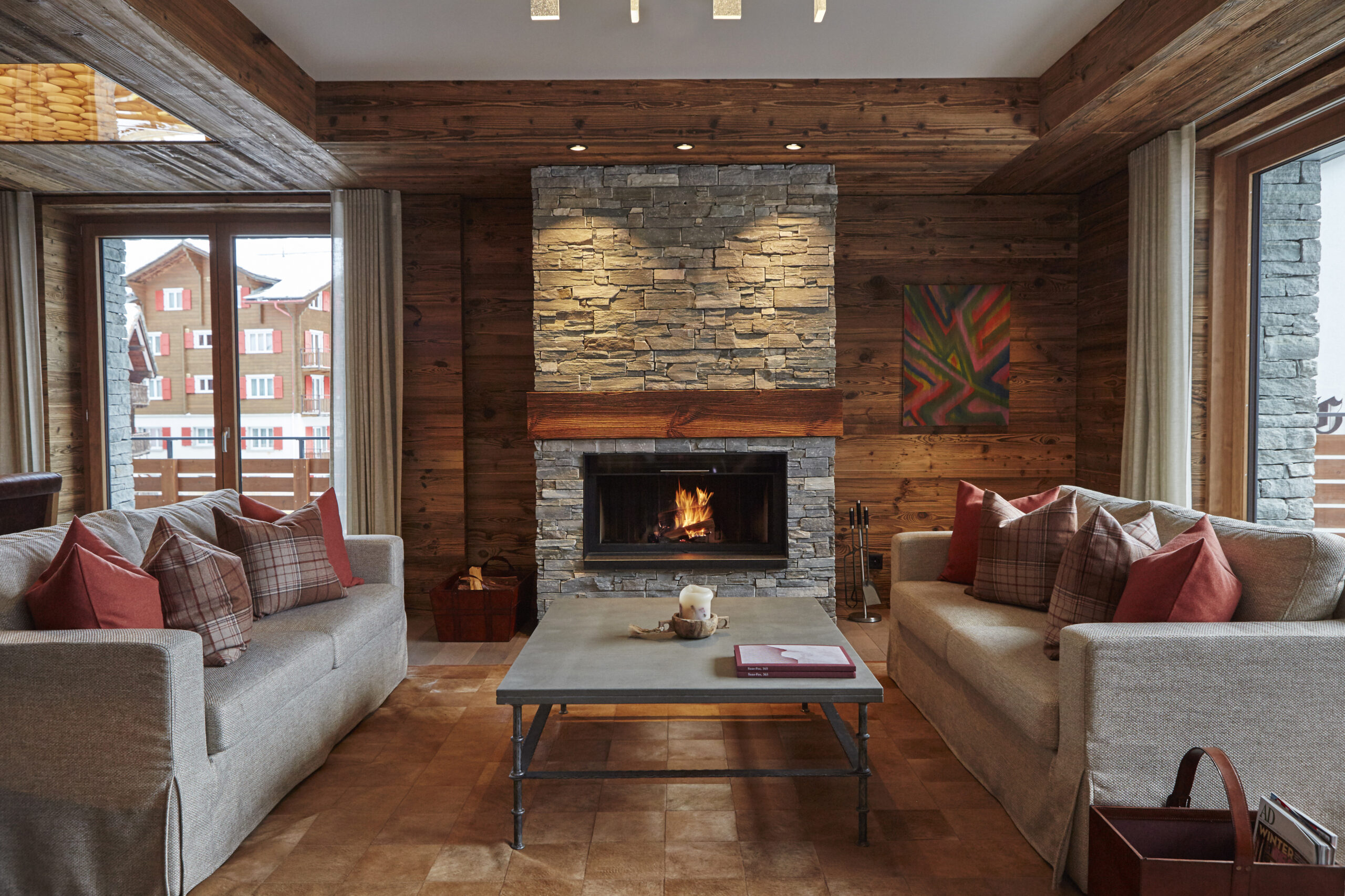 modern chalet style lounge with fireplace