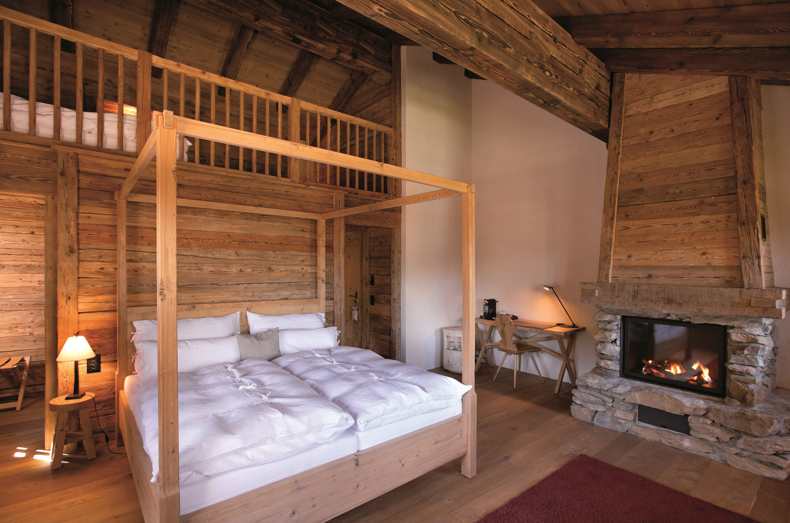 Rustic four-poster bed