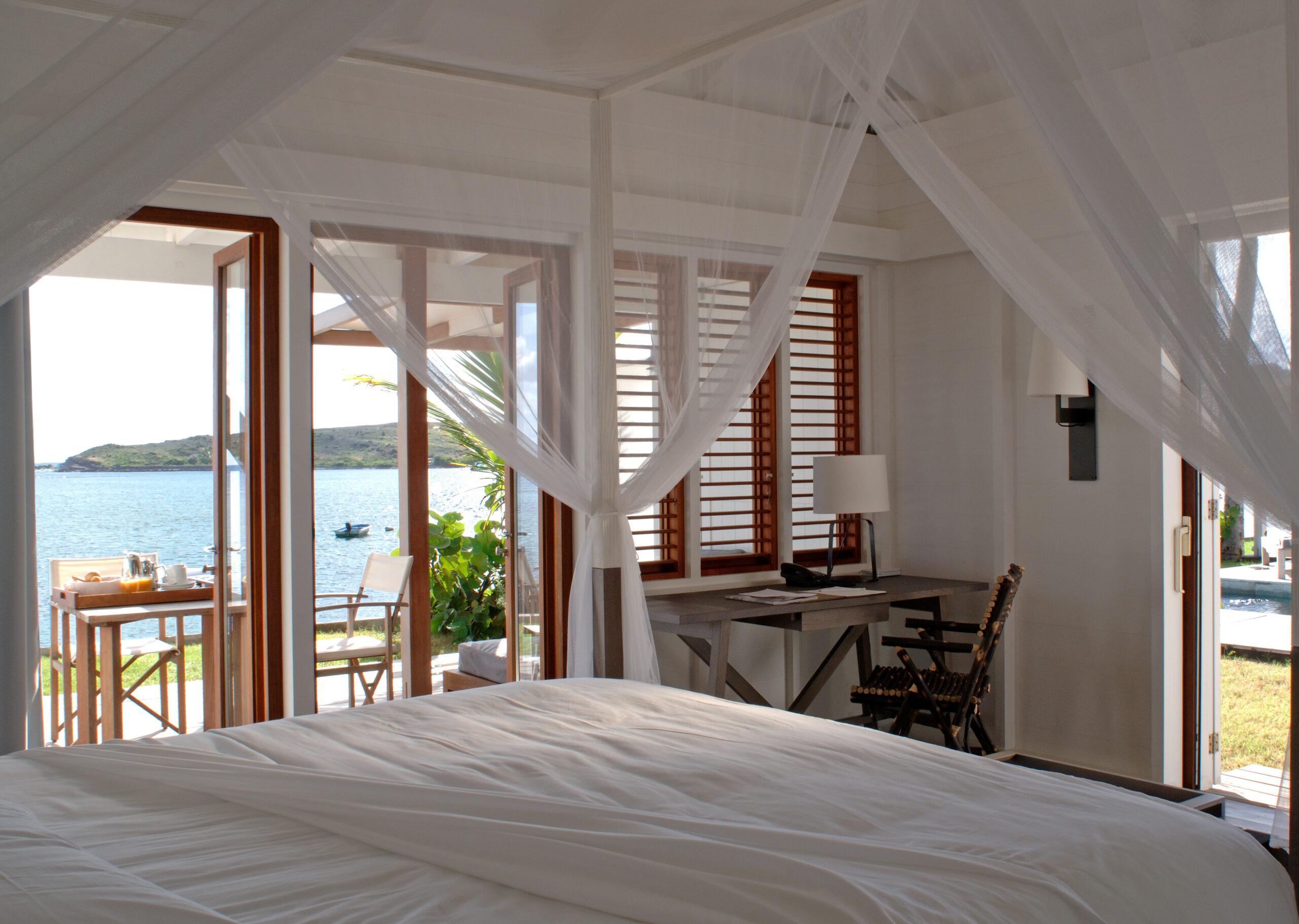 minimalist bedroom overlooking the sea