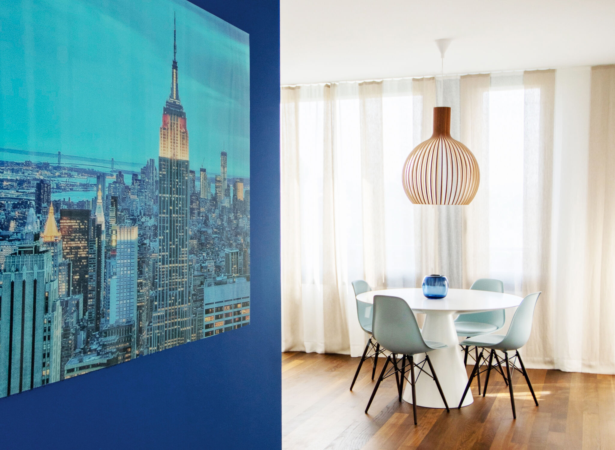 blue feature wall and photography