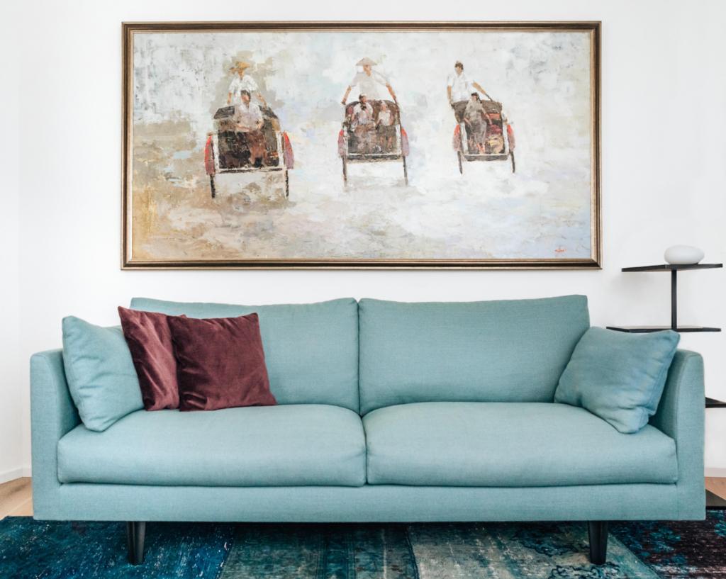 turquoise sofa