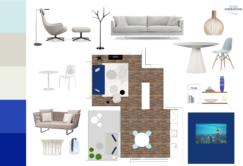 blue and taupe design concept