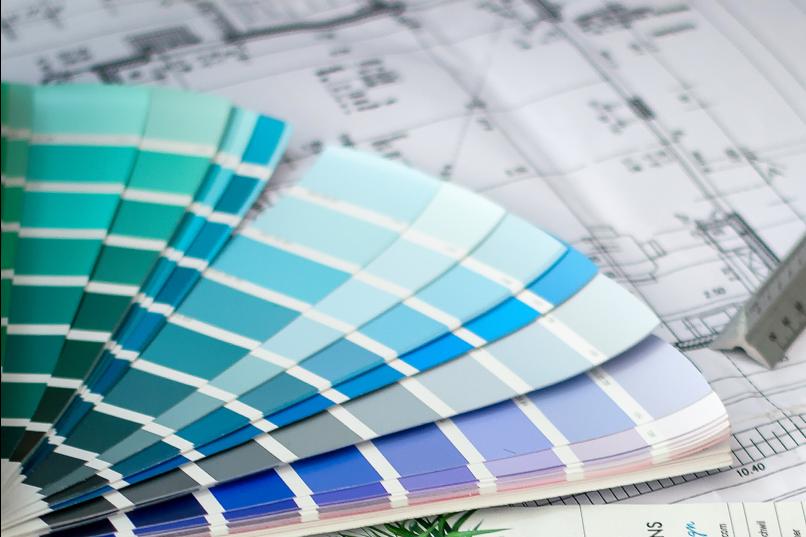 colour fan shades of blue