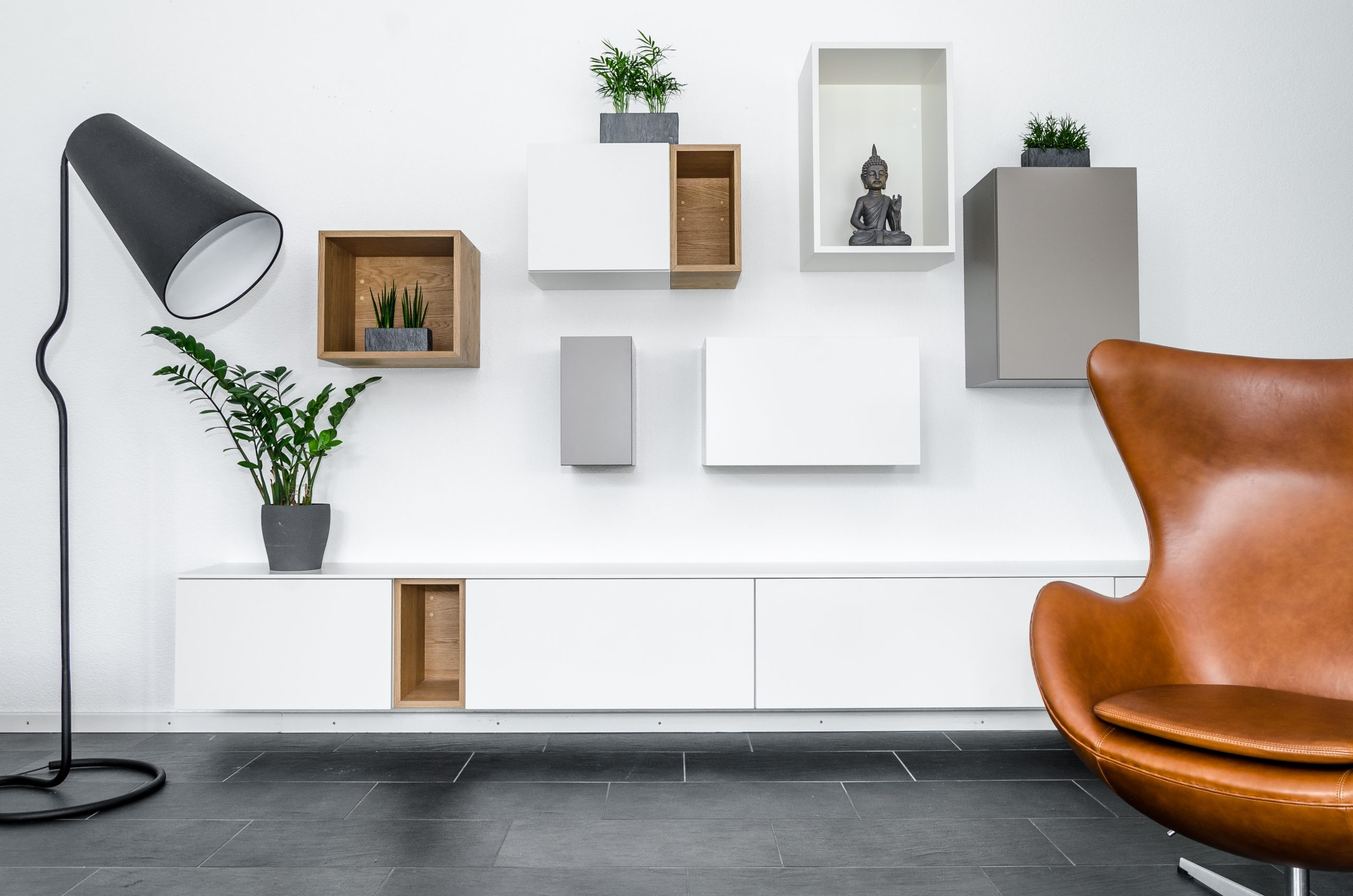wall elements and egg chair