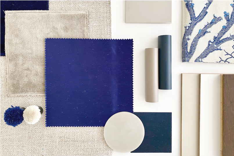 blue and taupe sample board